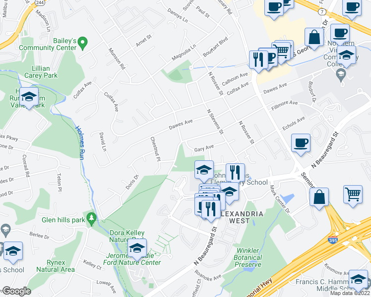 map of restaurants, bars, coffee shops, grocery stores, and more near 5650 Gary Avenue in Alexandria