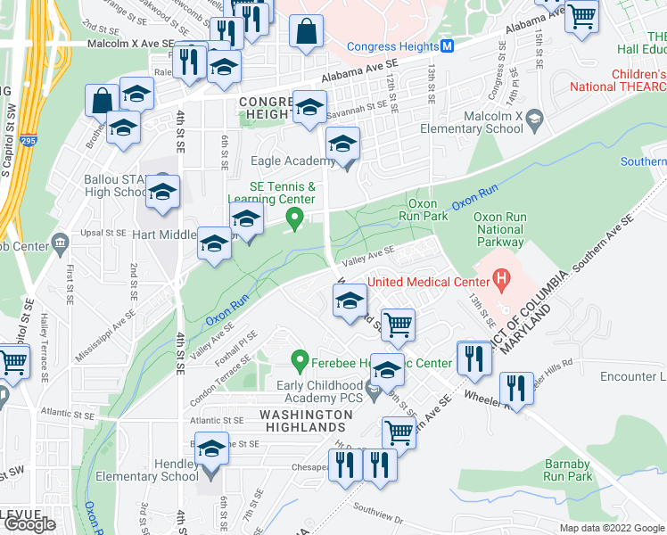 map of restaurants, bars, coffee shops, grocery stores, and more near Wheeler Road Southeast & Valley Avenue Southeast in Washington