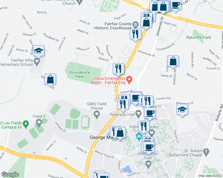 map of restaurants, bars, coffee shops, grocery stores, and more near 4308 Johnson Court in Fairfax
