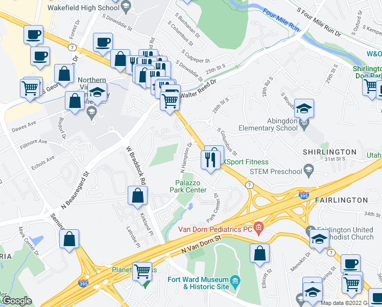 map of restaurants, bars, coffee shops, grocery stores, and more near 3101 North Hampton Drive in Alexandria