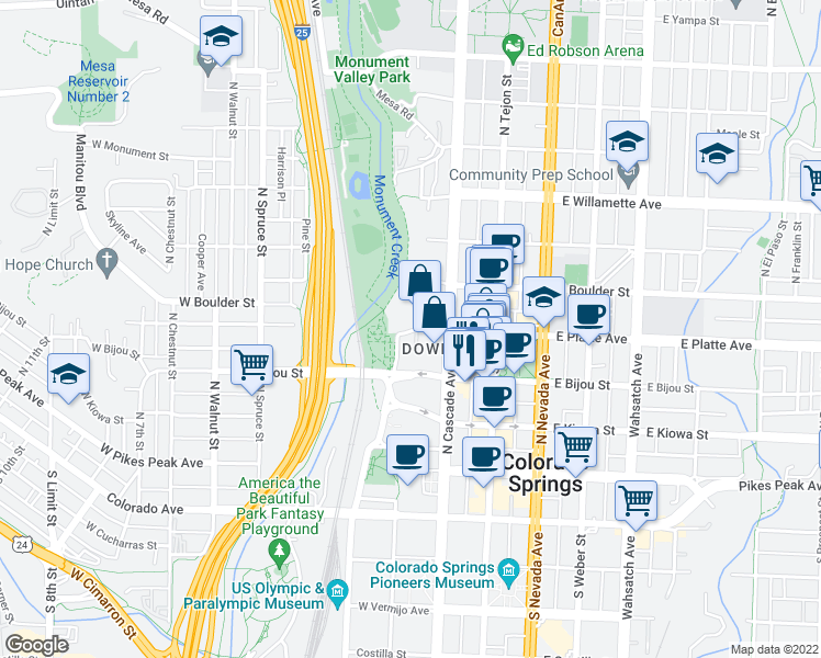 map of restaurants, bars, coffee shops, grocery stores, and more near 2-12 Boulder Court in Colorado Springs