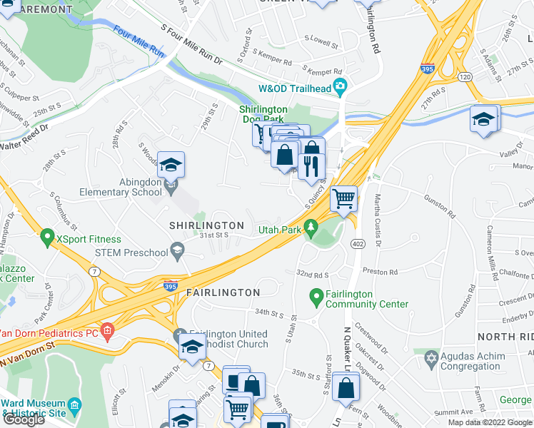 map of restaurants, bars, coffee shops, grocery stores, and more near 4201 31st Street South in Arlington