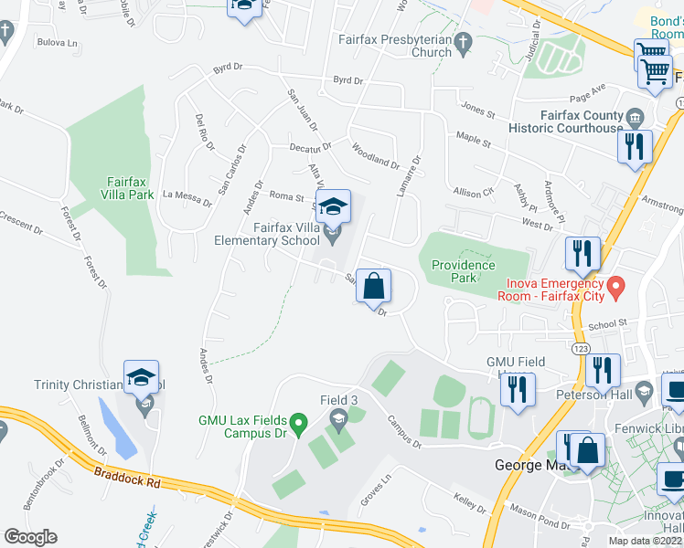map of restaurants, bars, coffee shops, grocery stores, and more near Santa Clara Drive in Fairfax