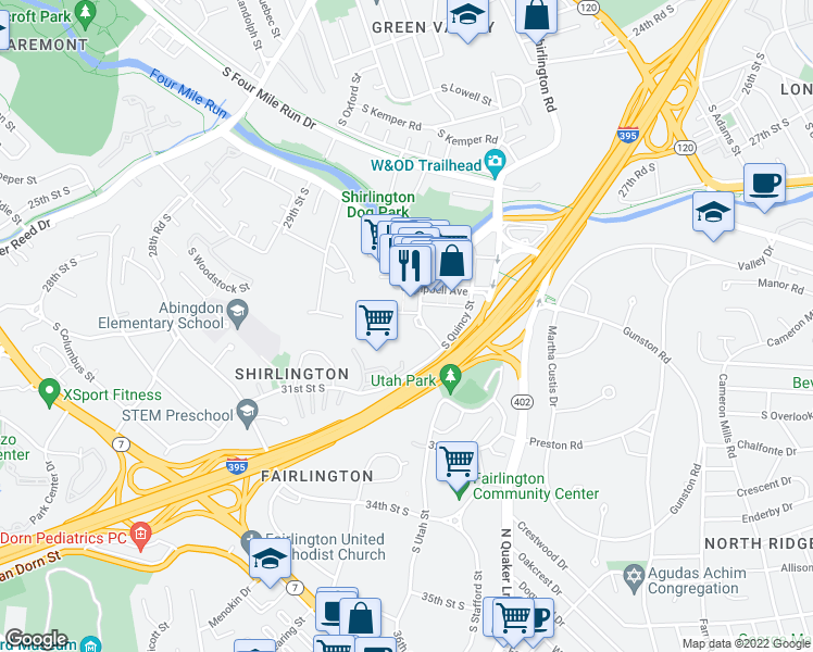 map of restaurants, bars, coffee shops, grocery stores, and more near 3000 South Randolph Street in Arlington