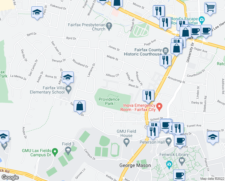 map of restaurants, bars, coffee shops, grocery stores, and more near 10722 West Drive in Fairfax