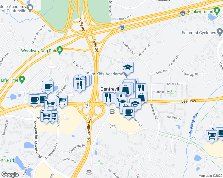 map of restaurants, bars, coffee shops, grocery stores, and more near in Centreville