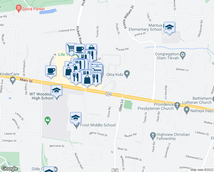 map of restaurants, bars, coffee shops, grocery stores, and more near 3954 Persimmon Drive in Fairfax