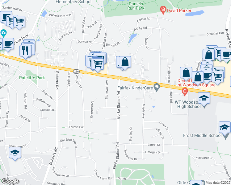 map of restaurants, bars, coffee shops, grocery stores, and more near 4008 Burke Station Rd in Fairfax