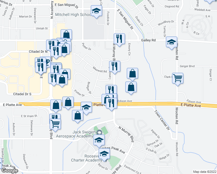 map of restaurants, bars, coffee shops, grocery stores, and more near 620 North Murray Boulevard in Colorado Springs