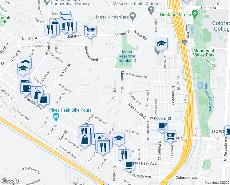 map of restaurants, bars, coffee shops, grocery stores, and more near 576 Observatory Drive in Colorado Springs