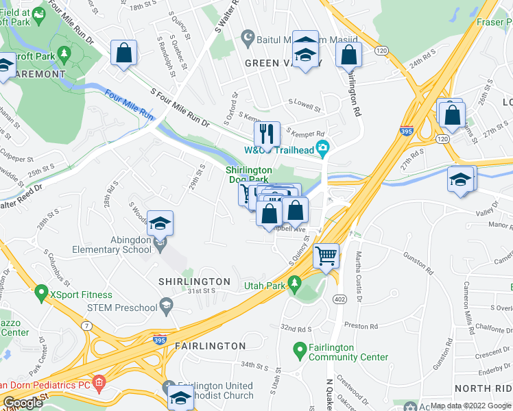 map of restaurants, bars, coffee shops, grocery stores, and more near 2720 South Arlington Mill Drive in Arlington