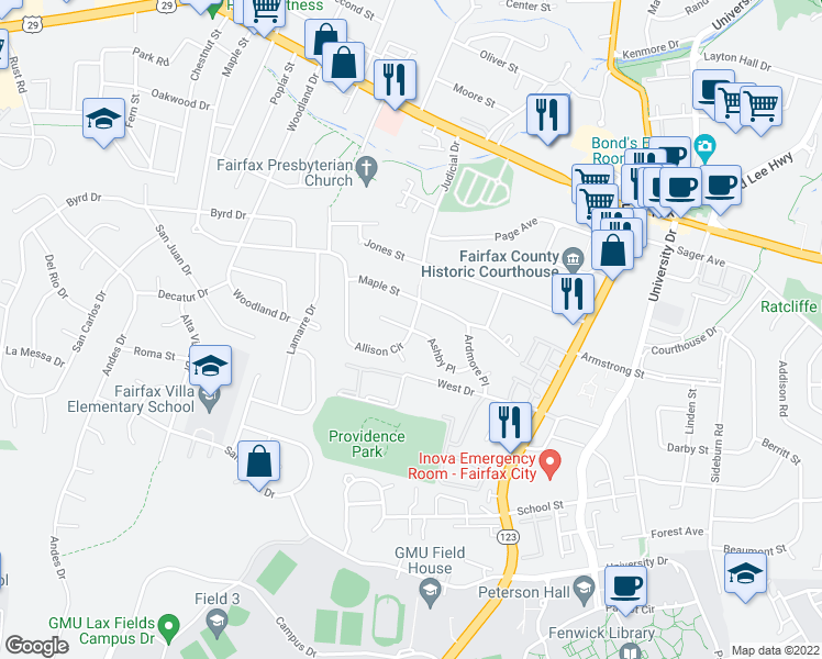 map of restaurants, bars, coffee shops, grocery stores, and more near Allison Circle in Fairfax