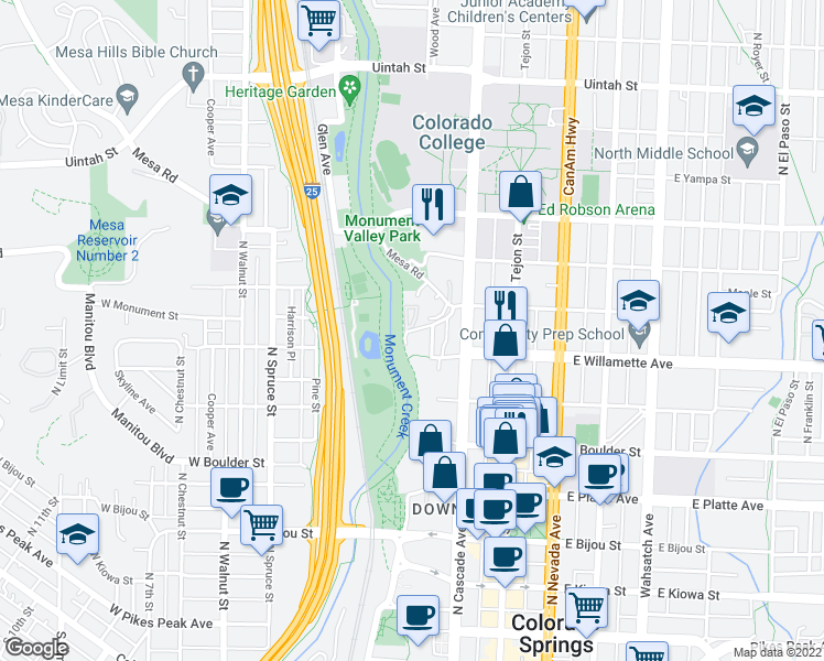 map of restaurants, bars, coffee shops, grocery stores, and more near 34 West Monument Street in Colorado Springs