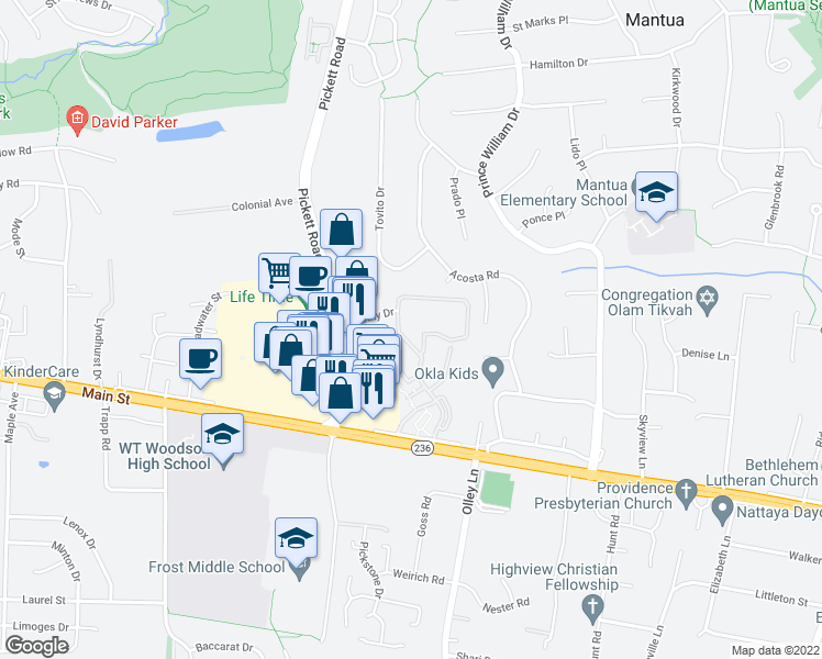 map of restaurants, bars, coffee shops, grocery stores, and more near 3682 Persimmon Circle in Fairfax