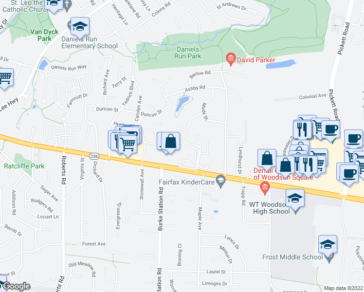 map of restaurants, bars, coffee shops, grocery stores, and more near 9860 Fairfax Square in Fairfax