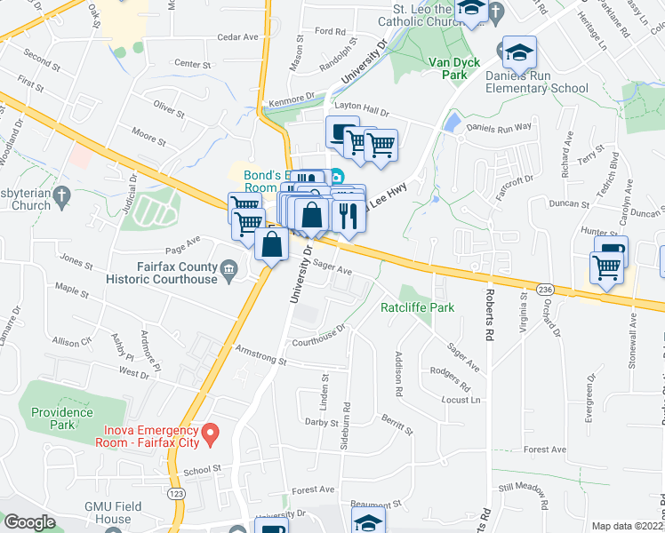 map of restaurants, bars, coffee shops, grocery stores, and more near 10371 Sager Ave in Fairfax