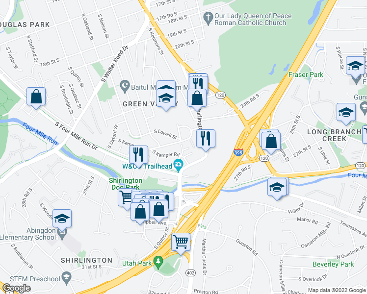 map of restaurants, bars, coffee shops, grocery stores, and more near 2509 South Kenmore Court in Arlington
