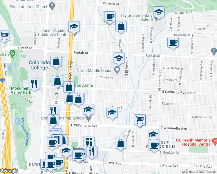 map of restaurants, bars, coffee shops, grocery stores, and more near 508 East Cache La Poudre Street in Colorado Springs