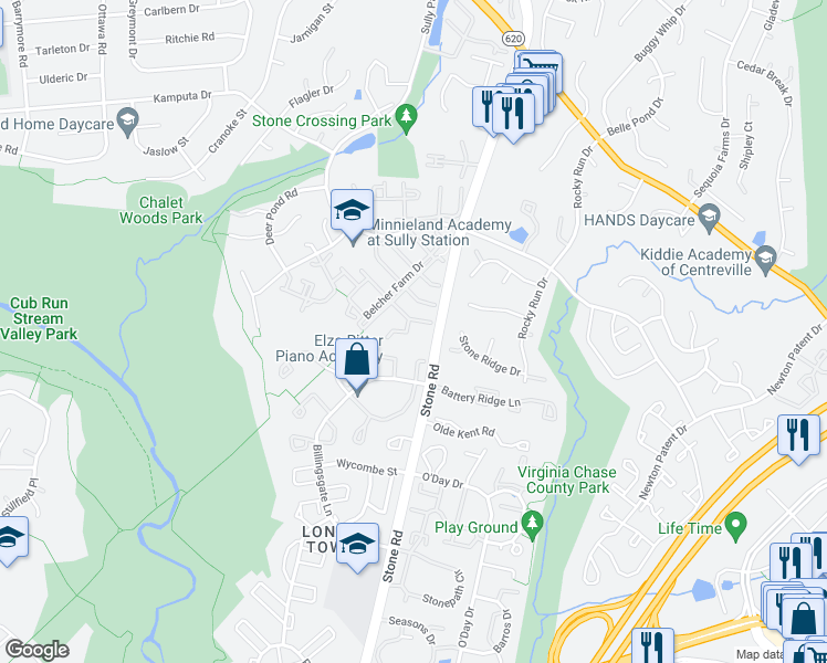 map of restaurants, bars, coffee shops, grocery stores, and more near 5809 Stream Pond Court in Centreville