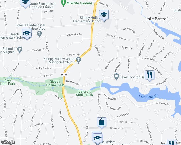map of restaurants, bars, coffee shops, grocery stores, and more near 6555 Brooks Place in Falls Church