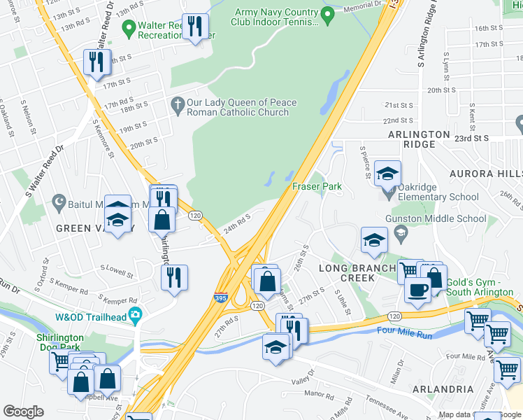 map of restaurants, bars, coffee shops, grocery stores, and more near Henry G. Shirley Memorial Highway in Arlington