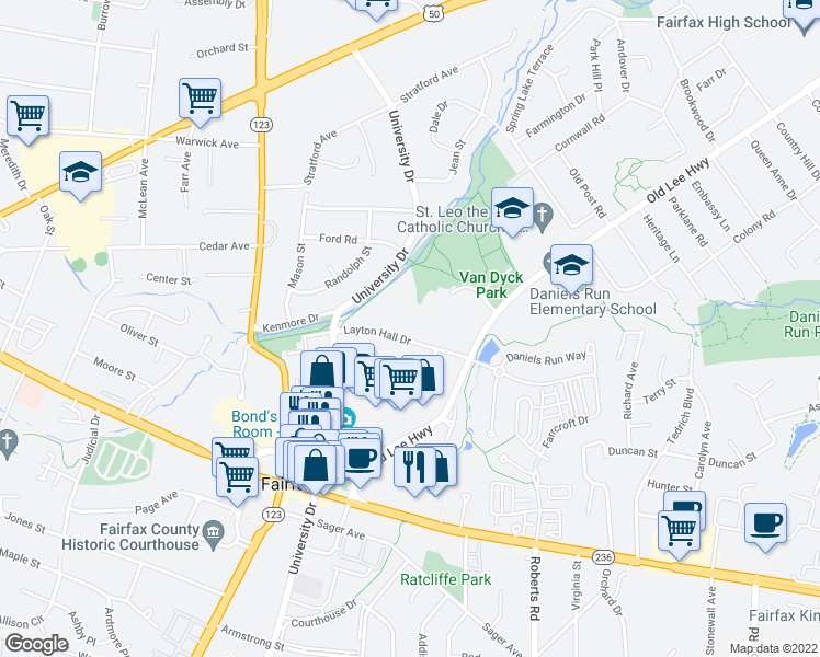 map of restaurants, bars, coffee shops, grocery stores, and more near 10320 Layton Hall Drive in Fairfax