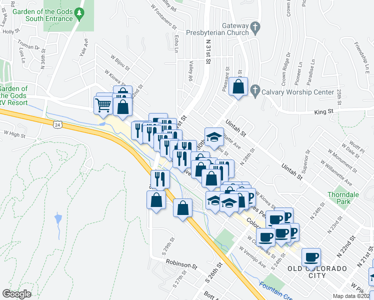 map of restaurants, bars, coffee shops, grocery stores, and more near 3008 West Pikes Peak Avenue in Colorado Springs