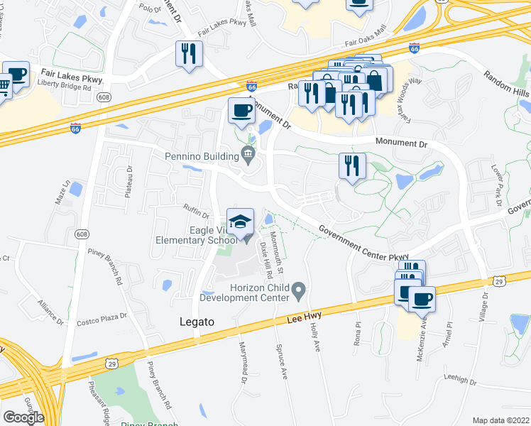 map of restaurants, bars, coffee shops, grocery stores, and more near 4411 Dixie Hill Road in Fairfax