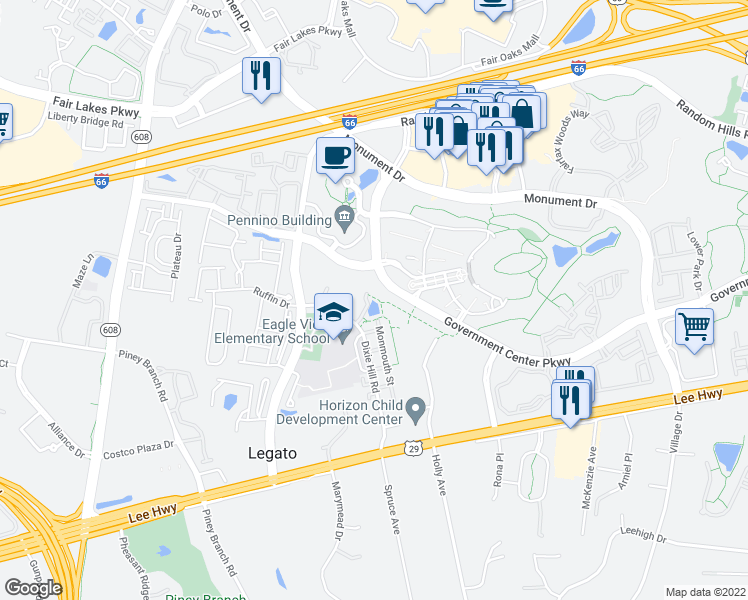 map of restaurants, bars, coffee shops, grocery stores, and more near Government Center Parkway in Fairfax