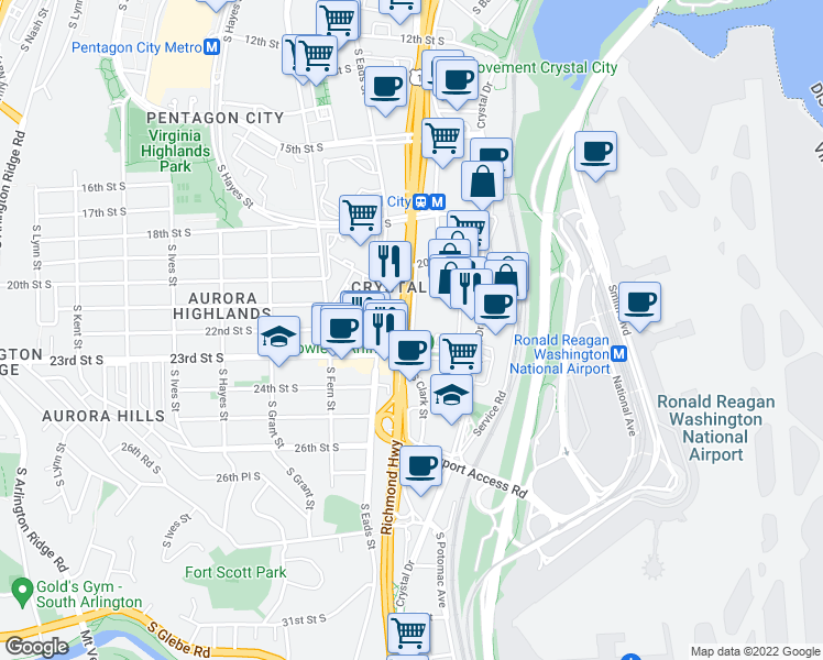 map of restaurants, bars, coffee shops, grocery stores, and more near 3400 South Clark Street in Arlington