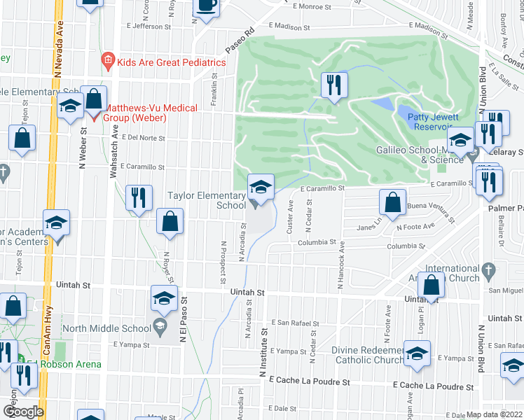 map of restaurants, bars, coffee shops, grocery stores, and more near 900 East Buena Ventura Street in