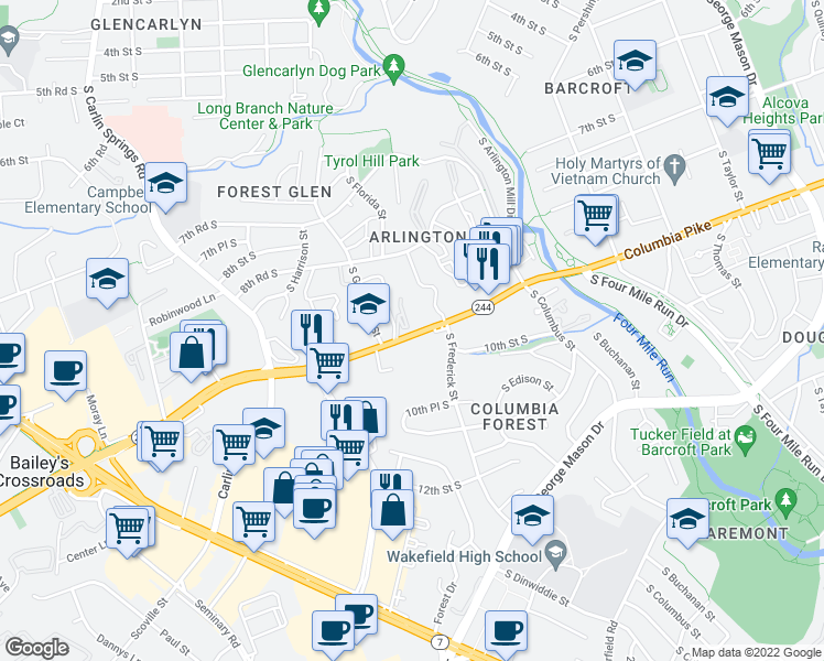 map of restaurants, bars, coffee shops, grocery stores, and more near 5353 Columbia Pike in Arlington