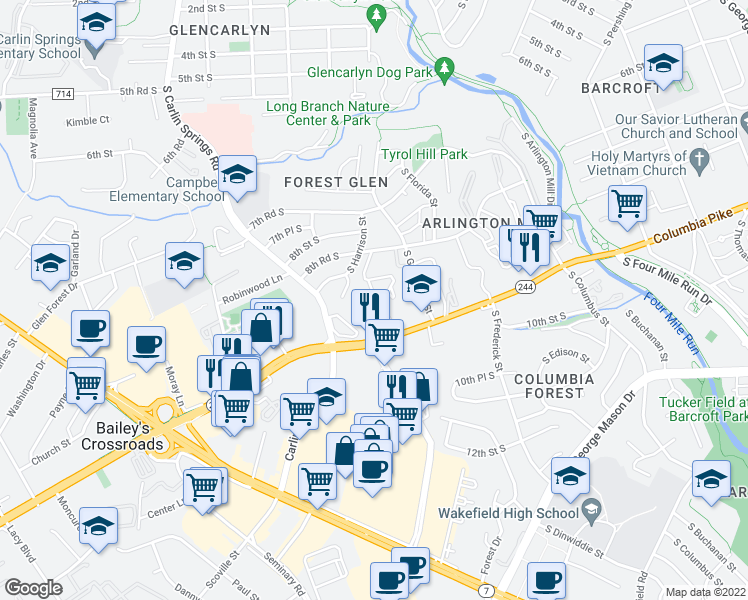 map of restaurants, bars, coffee shops, grocery stores, and more near 5535 Columbia Pike in Arlington