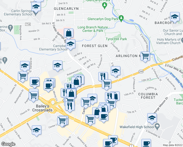 map of restaurants, bars, coffee shops, grocery stores, and more near 5565 Columbia Pike in Arlington