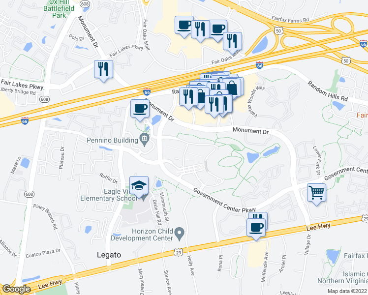 map of restaurants, bars, coffee shops, grocery stores, and more near W Ox Rd in Fairfax