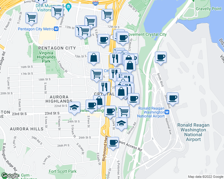 map of restaurants, bars, coffee shops, grocery stores, and more near 2111 South Clark Street in Arlington