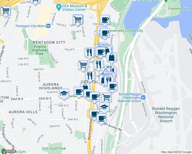 map of restaurants, bars, coffee shops, grocery stores, and more near 2111 S Clark St in Arlington