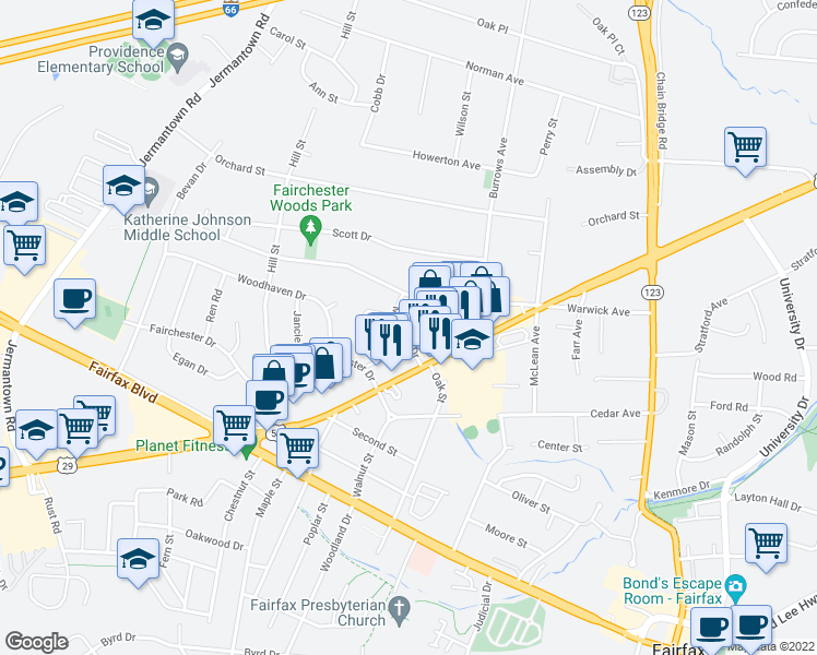 map of restaurants, bars, coffee shops, grocery stores, and more near 3848 Meredith Drive in Fairfax