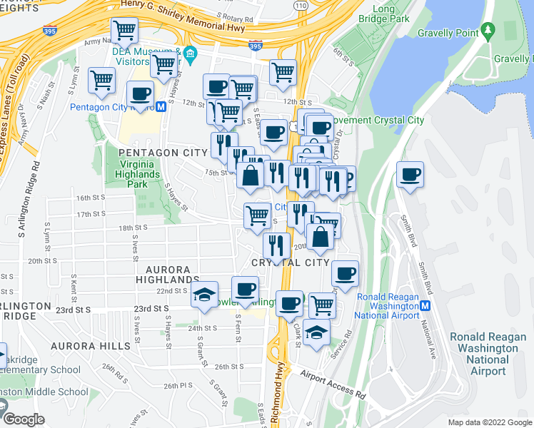 map of restaurants, bars, coffee shops, grocery stores, and more near 505 18th Street South in Arlington