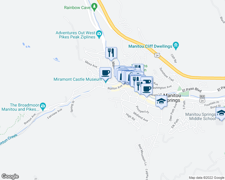 map of restaurants, bars, coffee shops, grocery stores, and more near 121 Ruxton Avenue in Manitou Springs