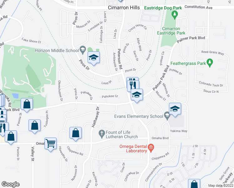 map of restaurants, bars, coffee shops, grocery stores, and more near 6750 Pahokee Court in Colorado Springs