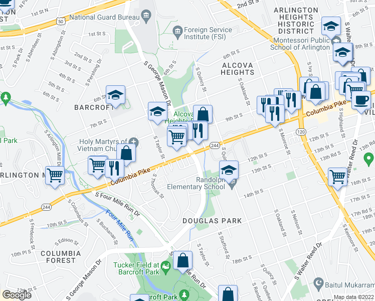 map of restaurants, bars, coffee shops, grocery stores, and more near 950 South George Mason Drive in Arlington