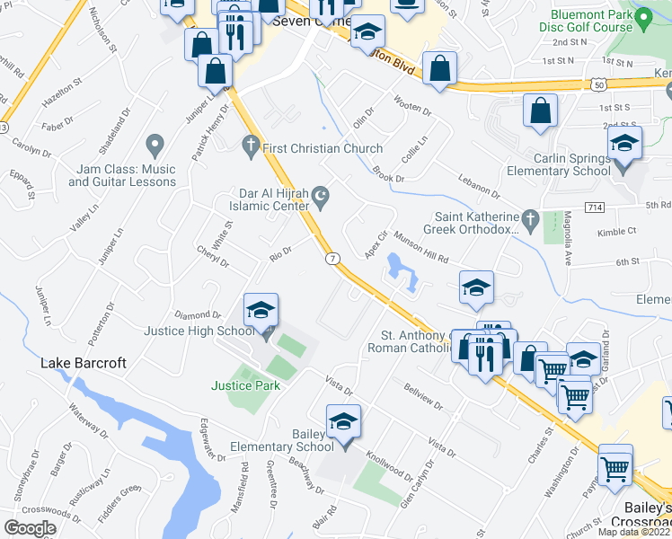 map of restaurants, bars, coffee shops, grocery stores, and more near 6133 Leesburg Pike in Falls Church