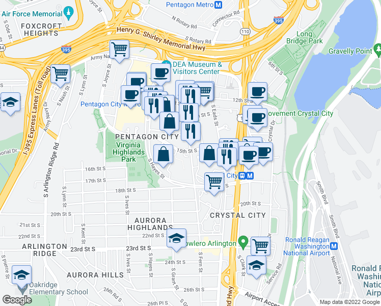 map of restaurants, bars, coffee shops, grocery stores, and more near 590 S. 15th St. in Arlington