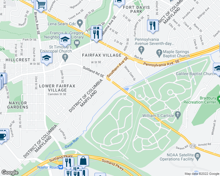 map of restaurants, bars, coffee shops, grocery stores, and more near 3901 Suitland Road in Suitland-Silver Hill