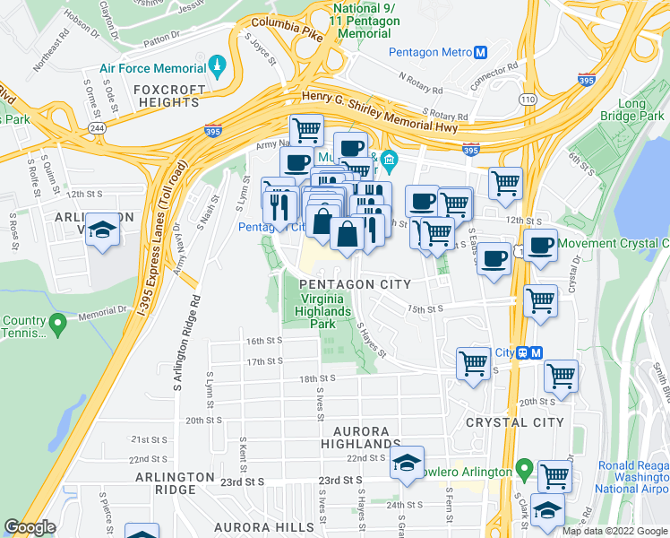 map of restaurants, bars, coffee shops, grocery stores, and more near 801 15th Street South in Arlington