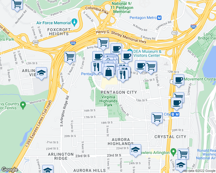 map of restaurants, bars, coffee shops, grocery stores, and more near 901 15th Street South in Arlington