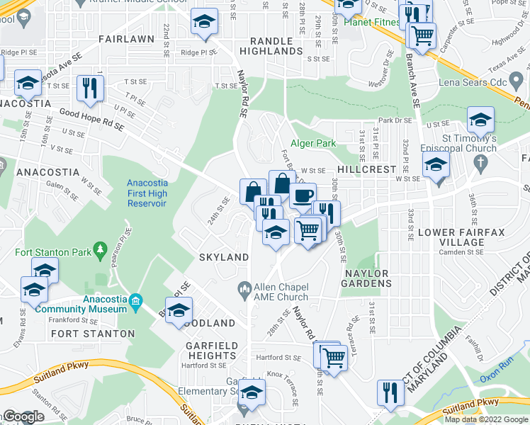 map of restaurants, bars, coffee shops, grocery stores, and more near 2645 Naylor Road Southeast in Washington
