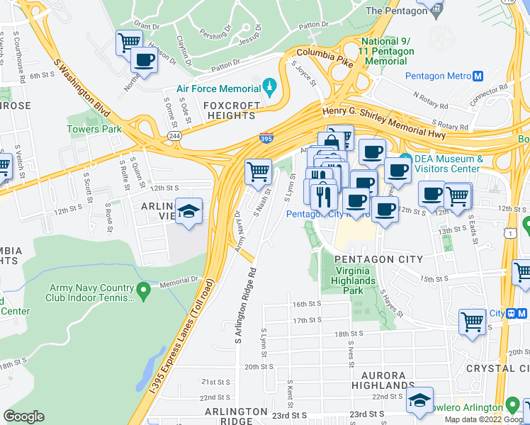 map of restaurants, bars, coffee shops, grocery stores, and more near 1200 South Arlington Ridge Road in Arlington