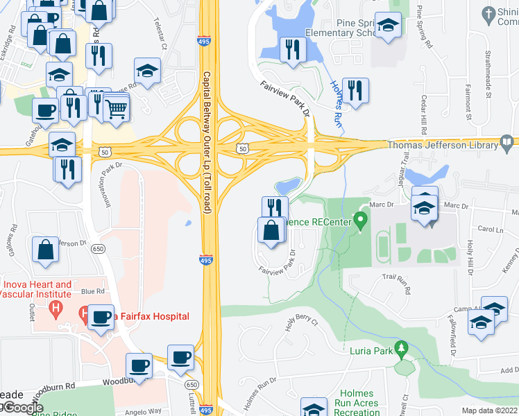 map of restaurants, bars, coffee shops, grocery stores, and more near 3110 Fairview Park Drive in Falls Church